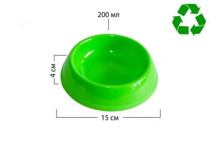 Миска для животных Киспис, антибактериальный экопластик, зеленая, 200 мл