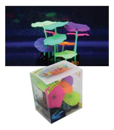 Декорация для аквариума Листья лотоса разноцветные силиконовые 9шт 9х7х11см