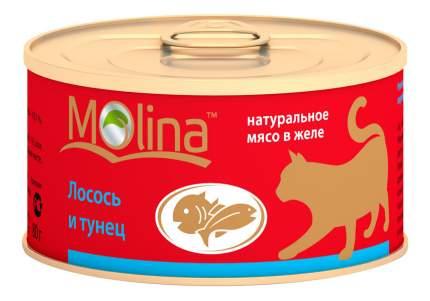 Консервы для кошек Molina, с лососем и тунцом в желе, 12шт по 80г