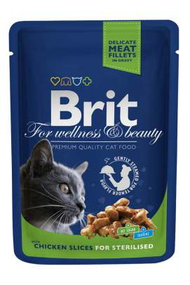 Влажный корм для кошек Brit Premium, курица, 100г