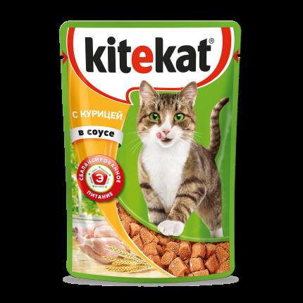 Влажный корм для кошек Kitekat c сочными кусочками курицы в соусе, 85г