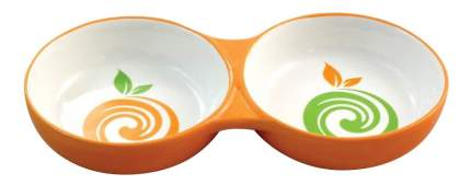 Двойная миска для кошек и собак Triol, керамика, белый, оранжевый, 2 шт по 0.2 л