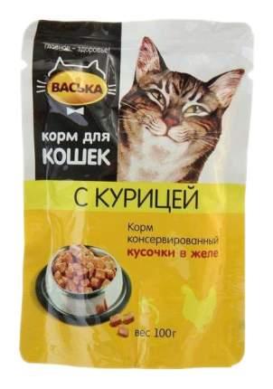 Влажный корм для кошек Васька, курица, 100г