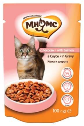 Влажный корм для кошек Мнямс Кожа и шерсть, лосось в соусе, 24шт, 100г