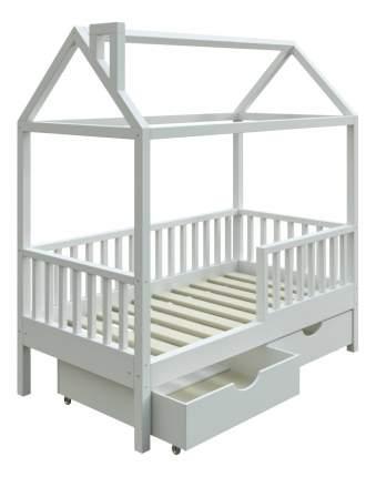 Кровать-домик Трурум KidS Сказка узкий бортик, ящики, вход слева белая