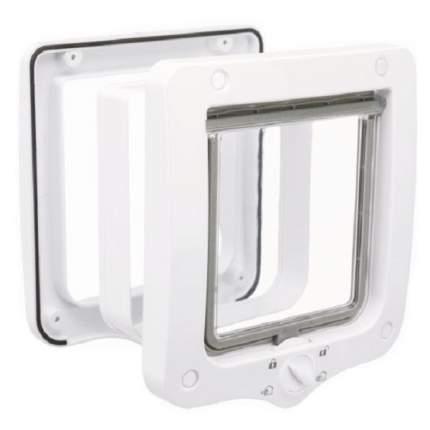 Дверца для кошки TRIXIE 4-Way, с туннелем, белая, 14х15,5см