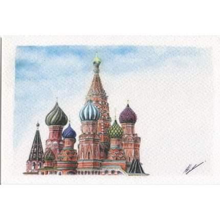 "Открытка ""Москва. Собор Василия Блаженного"", карандаш"