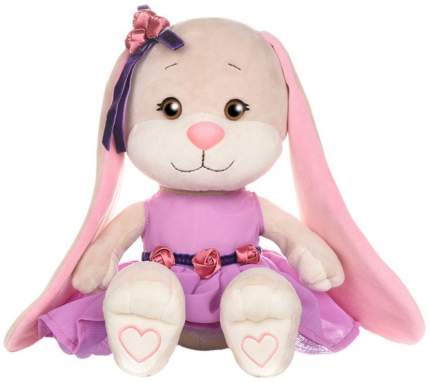Мягкая игрушка животное Jack&Lin Зайка в Фиолетовом Платье с Розочками на Поясе 25 см
