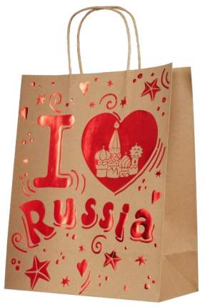 "Пакет бумажный ""Люблю Россию"", 26х32,4х12,7 см"