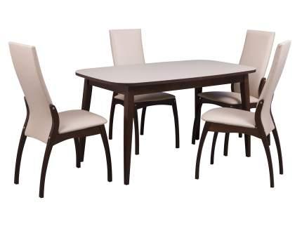 Обеденная группа для столовой и гостиной Mebwill Стол Турин + 4 стула Токио орех темный
