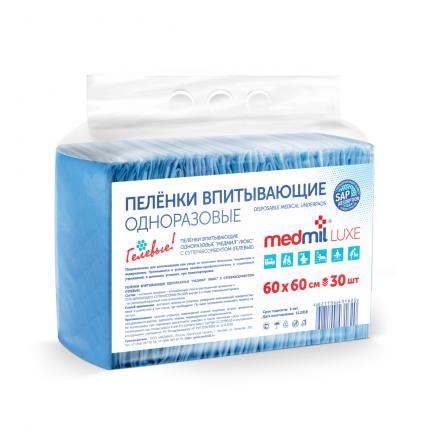 Пеленки для взрослых Medmil Luxe впитывающие гелевые с САПом 60 х 60 30 шт.