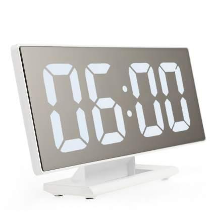 Настольные зеркальные часы DS-3618L (белый корпус, белые цифры)