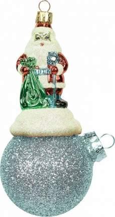 """Подвеска Mister Christmas """"Санта Клаус на шаре"""" (цвет: серебряный, с инеем, 15 см)"""
