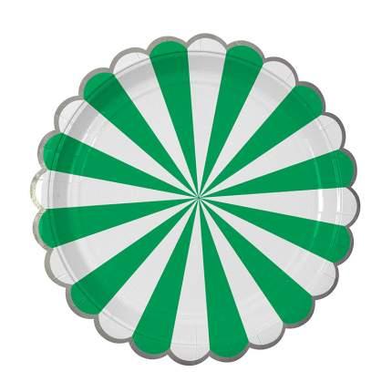 Тарелки большие Meri Meri в полоску зеленые