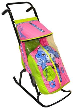 Санки-коляска R-Toys Снегурочка-2-Р Собачка, салатовый/розовый