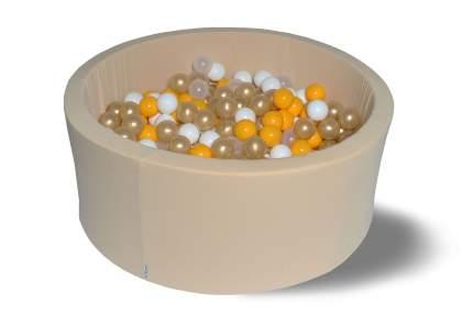 Сухой игровой бассейн Злато бежевый 40см с 200 шарами: бел, прозр, желт, золот