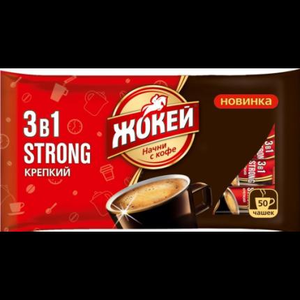 Кофейный напиток Жокей крепкий растворимый 3в1 12 г 50 штук
