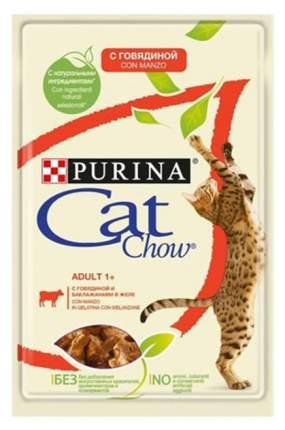 Влажный корм для кошек Cat Chow Adult, говядина, баклажан, кусочки, 24шт, 85г