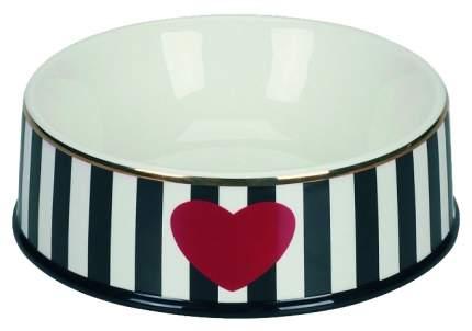 Одинарная миска для кошек и собак Chacco, керамика, белый, черный, 0.5 л