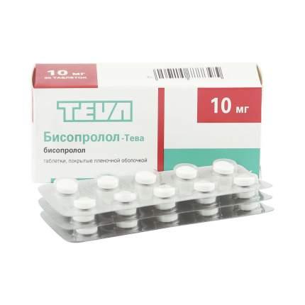 Бисопролол-Тева таблетки 10 мг 30 шт.
