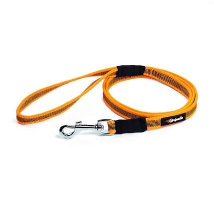 Поводок для собак Gripalle нейлоновый прорезиненный, оранжевый, 2 м
