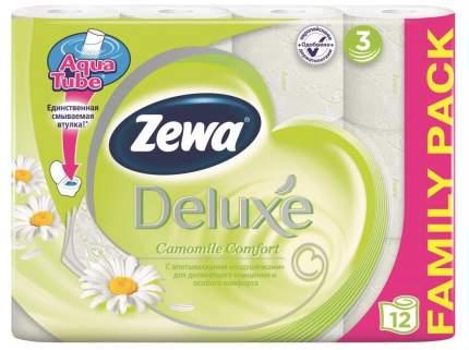 Туалетная бумага Zewa Deluxe Ромашка, 3 слоя, 12 рулонов