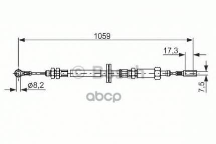 трос ручного тормоза Bosch 1987477114