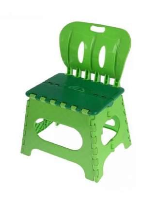 Табурет Трикап складной пластиковый со спинкой зеленый/салатовый