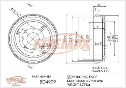 Тормозной барабан FREMAX BD-4909