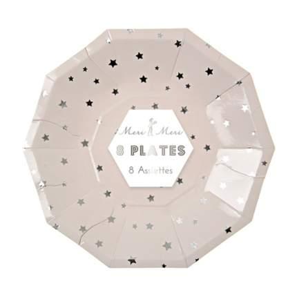 Тарелки Meri Meri серебро звезды маленькие
