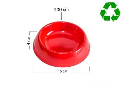 Миска для животных Киспис, антибактериальный экопластик, красная, 200 мл