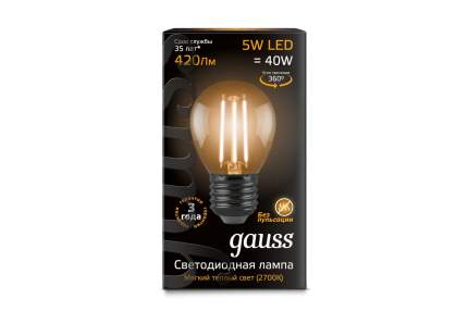 Лампочка Gauss Black Filament G45 Е27 5W 420Lm 2700К