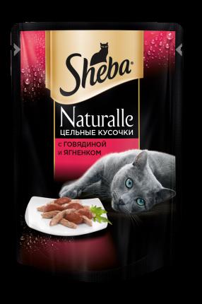 Влажный корм для кошек Sheba Naturalle с говядиной и ягненком, 80г