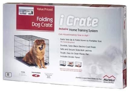 Клетка для собак Midwest iCrate, размер 5, 9.7 кг, размер 76х48х53см., черный