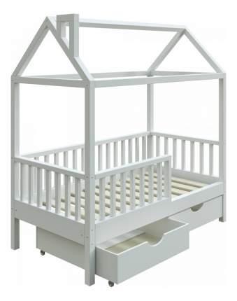 Кровать-домик Трурум KidS Сказка узкий бортик, ящики, вход справа белая