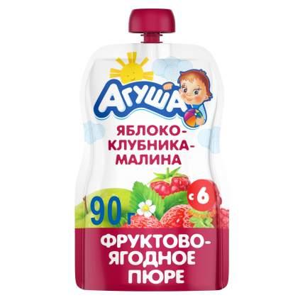 Пюре фруктовое Агуша Яблоко, клубника, малина с 6 мес. 90 г