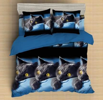 Постельное бельё Amore Mio Meow Макосатин Микрофибра 1,5 спальное
