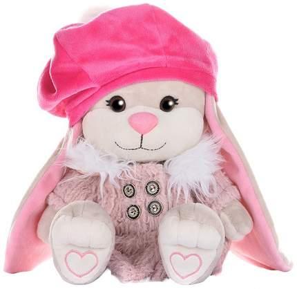 Мягкая игрушка животное Jack&Lin Зайка в Розовом Пальто и Яркой Шапке 25 см