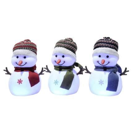 Kaemingk Снеговичок в шапочке и шарфике светящийся, 18 см, LED лампы, батарейка 482644