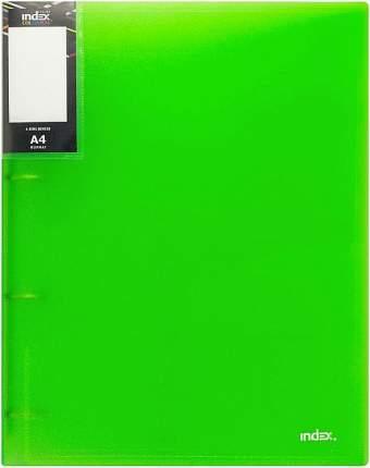 Папка на 4 кольцах Index Colourplay Light, A4, 0.6 мм, Прозрачная/Зеленая