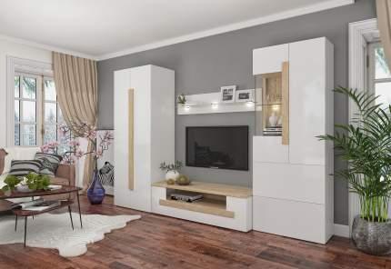 Стенка-горка в гостиную Милана 1723.м2 Сонома / Белый, С подсветкой