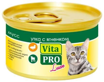 Консервы для кошек VitaPRO Luxe, мусс с уткой и ягненком, 85г