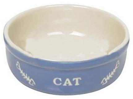 Одинарная миска для кошек Nobby, керамика, белый, голубой, 0.24 л