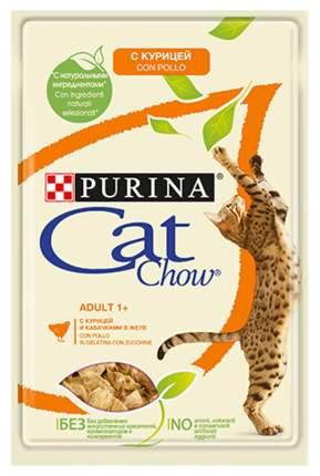 Влажный корм для кошек Cat Chow Adult, курица, кабачок, кусочки, 24шт, 85г
