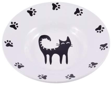 Одинарная миска для кошек КерамикАрт, керамика, белый, 0.14 л