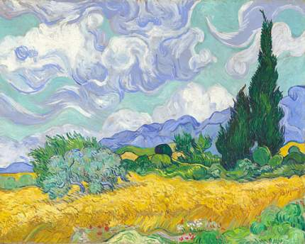 Репродукция Винсент ван Гог, Пшеничное поле с кипарисом 50х62,5 см