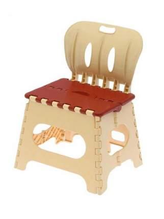 Табурет Трикап складной пластиковый со спинкой коричневый/бежевый