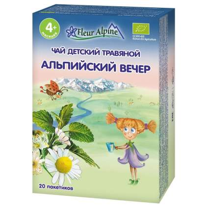 Чай травяной Fleur Alpine Органик Альпийский вечер, 4 мес., 20/8