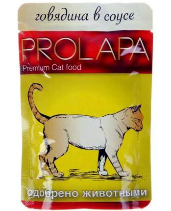 Влажный корм для кошек Prolapa, говядина, 100г