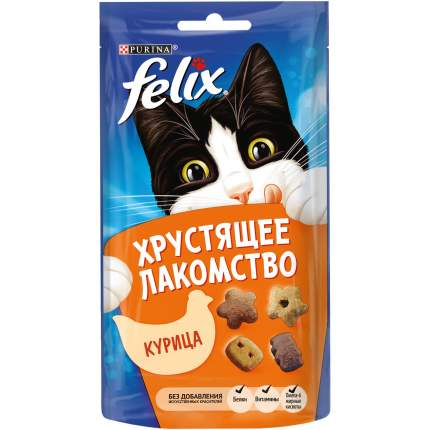 Хрустящее Лакомство для кошек Felix с курицей, 8шт. по 60г